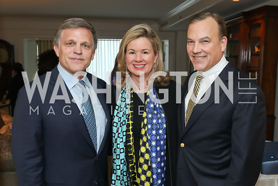 """Douglas Brinkley, Mary Streett and Clyde Tuggle. Photo by Tony Powell. Douglas Brinkley """"American Moonshot"""" Book Party. April 1, 2019"""