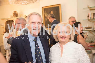 "Amb. Winston Lord, Melane Verveer, Book Party with Ambassador Winston Lord, ""Kissinger on Kissinger"", and Jim Sciutto, ""The Shadow War"", at the home of Juleanna Glover and Christopher Reiter.  Summer 2019, Photo by Ben Droz."