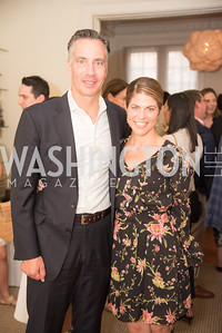 """Jim Sciutto, Gloria Riviera, Book Party with Ambassador Winston Lord, """"Kissinger on Kissinger"""", and Jim Sciutto, """"The Shadow War"""", at the home of Juleanna Glover and Christopher Reiter.  Summer 2019, Photo by Ben Droz."""