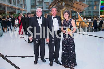 John Sturm, Kevin Virostek, Kathleen McGuan. Photo by Alfredo Flores. Catholic Charities Gala 2019. Marriott Marquis. April 5, 2019
