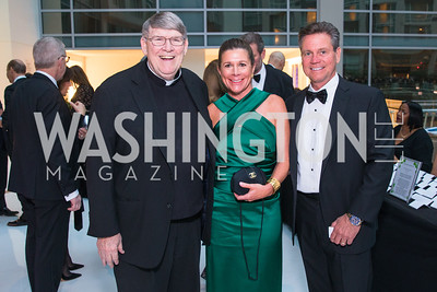 Fr. John Ensler, Cathy Rusnak, Michael Rusnak, Photo by Alfredo Flores. Catholic Charities Gala 2019. Marriott Marquis. April 5, 2019