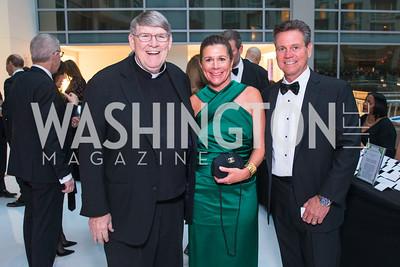 Fr. John Ensler, Cathy Rusnak, Michael Rusnak, Photo by Alfredo Flores. Catholic Charities Gala 2019. Marriott Marquis. April 5, 2019