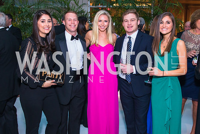 Maria Matan, Luke Poulos, Meghan Carroll, Conor Nolan, Ana Matan,  Photo by Alfredo Flores. Catholic Charities Gala 2019. Marriott Marquis. April 5, 2019