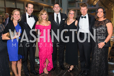 Colleen Leleck , Andrew Leleck, Ivette Dominguez, Logan Antigone, Mary Jane Reese, George Reese, Melanie Funkhouser  .  Photo by Alfredo Flores. Catholic Charities Gala 2019. Marriott Marquis. April 5, 2019