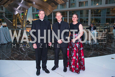 Fr. Charles Trullols, Fr. Tim Daniel, Cynthia Searcy. Photo by Alfredo Flores. Catholic Charities Gala 2019. Marriott Marquis. April 5, 2019