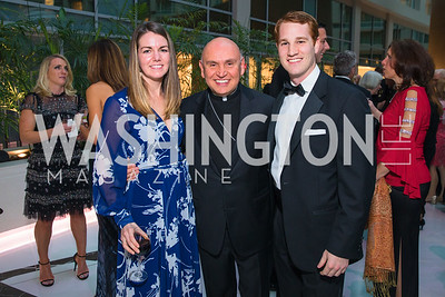 Megan Murray, Bishop Mario Dorsonville, Brendan Saxon,  Photo by Alfredo Flores. Catholic Charities Gala 2019. Marriott Marquis. April 5, 2019