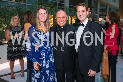 Megan Murray, Bishop Mario Dorsonville, Brendan Saxon,  Photo by Alfredo Flores. Catholic Charities Gala 2019. Marriott Marquis. April 5, 2019