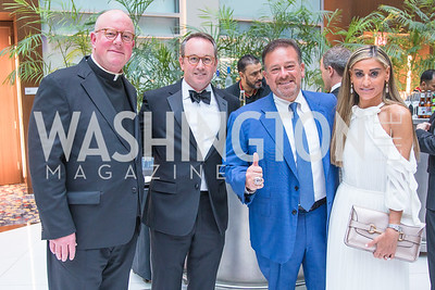 Fr. Bill Byrne, Chris Donatelli , Raul Fernandez, Karen Donatelli . Photo by Alfredo Flores. Catholic Charities Gala 2019. Marriott Marquis. April 5, 2019