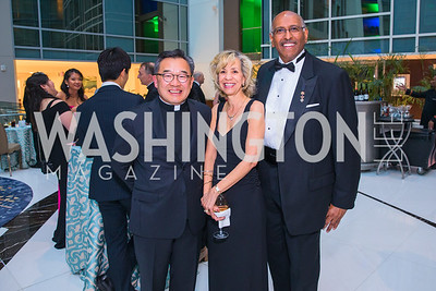 Fr. Paul Lee, Andrea Steele, Michael Steele, Photo by Alfredo Flores. Catholic Charities Gala 2019. Marriott Marquis. April 5, 2019