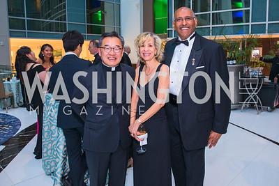 Fr. Paul Lee, Andrea Steele, Michael Steele, Photo by Alfredo Flores. Catholic Charities Gala 2019. Marriott Marquis. April 5, 2019