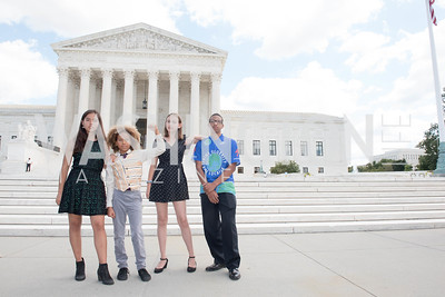 Xije Bastida, Levi Draheim, Alexandria Villasenor, Jerome Foster, Activists and Members of Congress gather at the Supreme Court, with Plaintiffs from Juliana v. United States, as part of the Global Climate Strike.  September 18, 2019.  Photo by Ben Droz