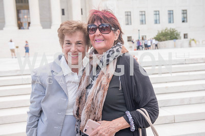 Congresswoman Jan Schakowsky, Beverly Camhe, Activists and Members of Congress gather at the Supreme Court, with Plaintiffs from Juliana v. United States, as part of the Global Climate Strike.  September 18, 2019.  Photo by Ben Droz
