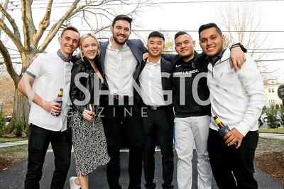 Patrick Quackenbush, Rosie Meile, Alessandro Di Marzio, Andrew Tran, Ayrtonna Jones, Carlo Rojas. Photo by Tony Powell. Compass DMV Launch Party. April 4, 2019