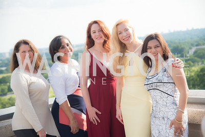 Anne Fabry, Jeniffer de Jesus-Roberts, Kami Quinn, Alexandra Sényi, Christine Terrell, FAIR Girls, Rooftop Reception, The Willard, June 6, 2019, Photo by Ben Droz.