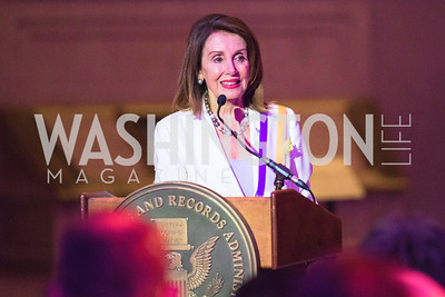 Congresswoman Nancy Pelosi. Photo by Alfredo Flores. Rightfully Hers American Women and the Vote opening reception. National Archives. May 8, 2019