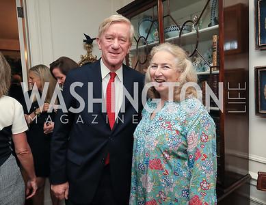 Gov. Bill Weld, Joan Tobin. Photo by Tony Powell. Reception for Bill Weld. Tobin Residence. June 18, 2019