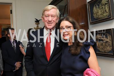 Gov. Bill Weld, Aniko Gaal Schott. Photo by Tony Powell. Reception for Bill Weld. Tobin Residence. June 18, 2019