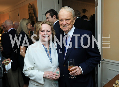 Elizabeth and George Stevens. Photo by Tony Powell. Reception for Bill Weld. Tobin Residence. June 18, 2019