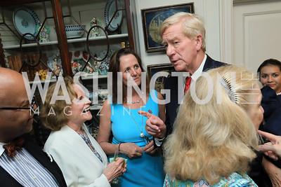 Riley Temple, Elizabeth Stevens, Leslie Marshall, Gov. Bill Weld, Joan Tobin. Photo by Tony Powell. Reception for Bill Weld. Tobin Residence. June 18, 2019