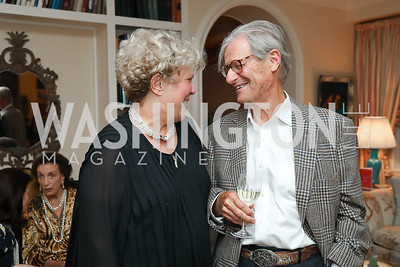 "Karen Fawcett, Jim Reston. Photo by Tony Powell. Marie Arana ""Silver, Sword and Stone"" Book Party. Roosevelt Residence. September 18, 2019"