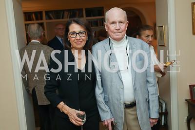 """Marie Arana and Jonathan Yardley. Photo by Tony Powell. Marie Arana """"Silver, Sword and Stone"""" Book Party. Roosevelt Residence. September 18, 2019"""