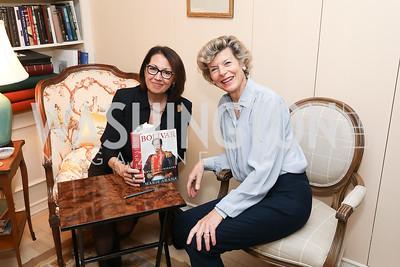 """Marie Arana, Diana Negroponte. Photo by Tony Powell. Marie Arana """"Silver, Sword and Stone"""" Book Party. Roosevelt Residence. September 18, 2019"""