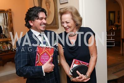 """Jason Estrada, Diane Flamini. Photo by Tony Powell. Marie Arana """"Silver, Sword and Stone"""" Book Party. Roosevelt Residence. September 18, 2019"""