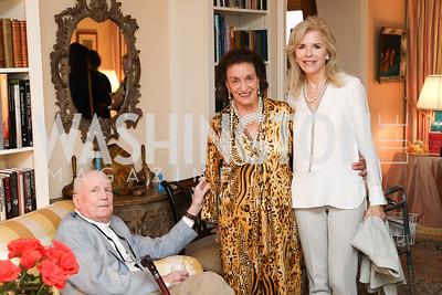 "Jonathan Yardley, Lucky Roosevelt, Jane Cafritz. Photo by Tony Powell. Marie Arana ""Silver, Sword and Stone"" Book Party. Roosevelt Residence. September 18, 2019"