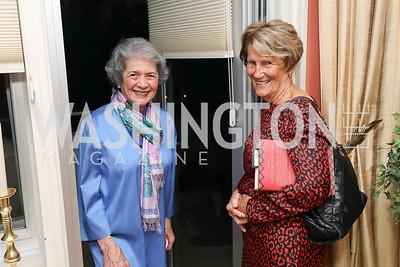 "Betty Sams, Denise Leary. Photo by Tony Powell. Marie Arana ""Silver, Sword and Stone"" Book Party. Roosevelt Residence. September 18, 2019"