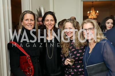 "Reg Stettinius, Nicole Elkon, Nancy Reynolds Bagley, Cricket Stettinius. Photo by Tony Powell. Neal Katyal ""Impeach"" Book Party. Glover Reiter Residence. November 23, 2019"