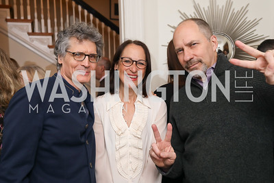 "Peter Brown and Peggy Hamburg, Marcus Brauchli. Photo by Tony Powell. Neal Katyal ""Impeach"" Book Party. Glover Reiter Residence. November 23, 2019"