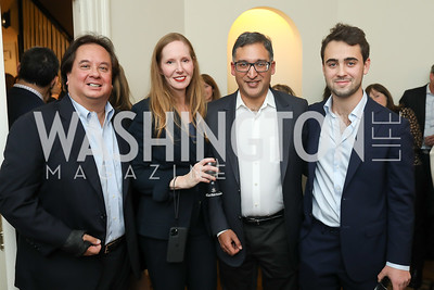 "George Conway, Juleanna Glover, Neal Katyal, Sam Koppelman. Photo by Tony Powell. Neal Katyal ""Impeach"" Book Party. Glover Reiter Residence. November 23, 2019"