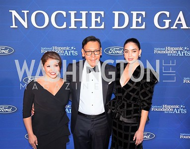 Justina Machado, Felix Sanchez, Melissa Barrera. Photo by Yasmin Holman. Noche de Gala. Mayflower Hotel. 09.18.19