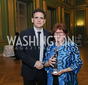 Matt Dillon, The Honorable Louise Arbour. Photo by Tony Powell. RI 40th Anniversary Dinner. Mellon Auditorium. April 30, 2019