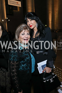 Annie Totah, Demet Oger. Photo by Tony Powell. RI 40th Anniversary Dinner. Mellon Auditorium. April 30, 2019