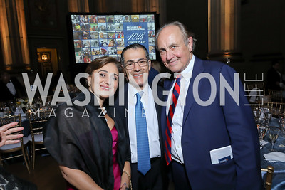 Darya and Vali Nasr, Chris Isham. Photo by Tony Powell. RI 40th Anniversary Dinner. Mellon Auditorium. April 30, 2019