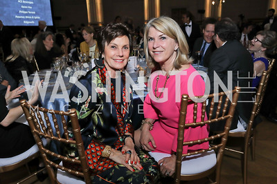 Maureen Orth, Kathleen Matthews. Photo by Tony Powell. RI 40th Anniversary Dinner. Mellon Auditorium. April 30, 2019