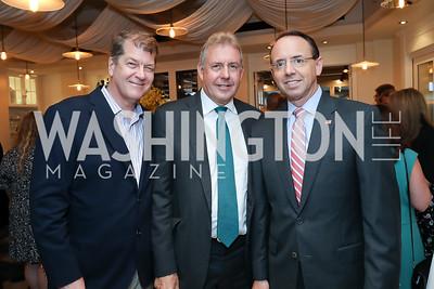 Steve Clemons, Britain Amb. Sir Kim Darroch, Rod Rosenstein. Photo by Tony Powell. Viacom Rocketman Screening VIP Reception. Fiola Mare & AMC Georgetown. May 30, 2019
