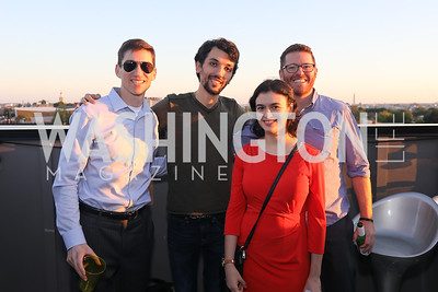 """Aaron Ament, Max Moran, Emma Steiner, Alex Elson. Photo by Tony Powell. Ryan Grim """"We've Got People"""" Book Party. September 19, 2019"""