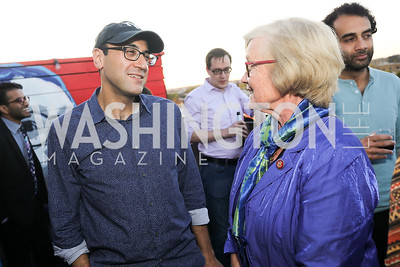 """Adam Green, Rep. Chellie Pingree. Photo by Tony Powell. Ryan Grim """"We've Got People"""" Book Party. September 19, 2019"""