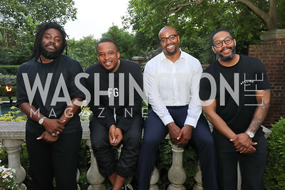 """Jason Reynolds, D Watkins, Kevin Reeves, Mitchell Jackson. Photo by Tony Powell. """"Survival Math"""" Book Party. Haft Residence. May 28, 2019"""