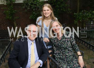 "Bob Barnett, Ellen Lose, Ulla Ronberg. Photo by Tony Powell. ""Survival Math"" Book Party. Haft Residence. May 28, 2019"