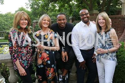 "Ginny Grenham, Rita Braver, D Watkins, Kevin Reeves, Carol Melton. Photo by Tony Powell. ""Survival Math"" Book Party. Haft Residence. May 28, 2019"