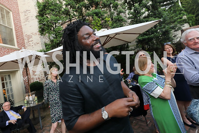 """Jason Reynolds. Photo by Tony Powell. """"Survival Math"""" Book Party. Haft Residence. May 28, 2019"""