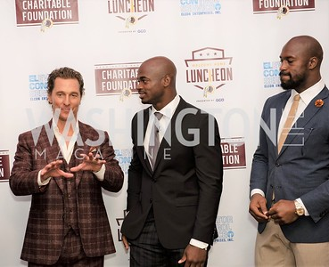 Matthew McConaughey, Adrian Peterson, Vernon Davis. Photo by Yasmin Holman. Washington Redskins Lunch 2019. Washington Hilton. 08.28.19