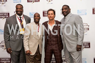 Derrick Dockery, Darrell Green, Matthew McConaughey, Doug Williams. Photo by Yasmin Holman. Washington Redskins Lunch 2019. Washington Hilton. 08.28.19