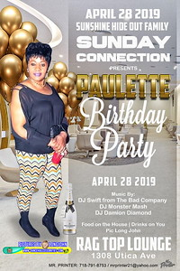 Sun. Apr. 28 - PAULETTE'S BIRTHDAY PARTY