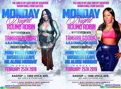 Mon. Feb. 25 - MONDAY ROUND ROBIN