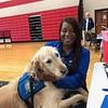 Anna Comfort Dog (Trinity Lutheran Church & School- Toledo, OH) Comforts FEMA Worker at Madison High School in Trotwood, OH