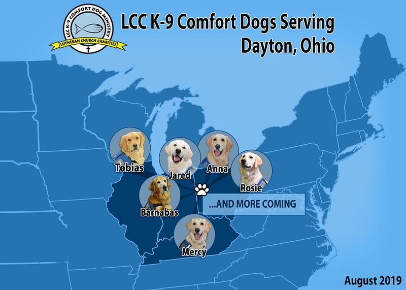 Map of the Comfort Dogs Deploying to Dayton- First Group